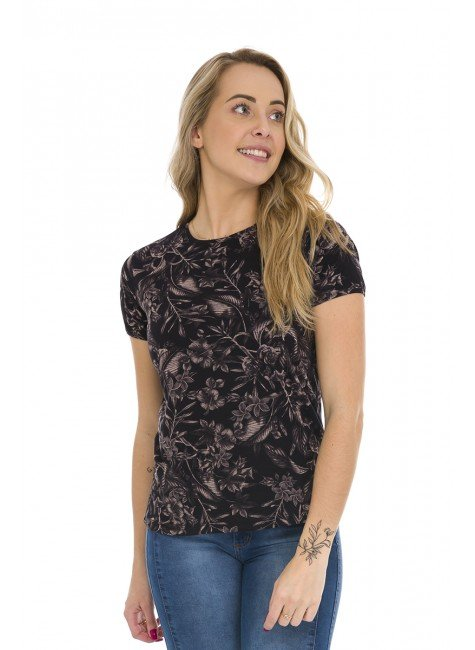 44212000 T Shirt Feminina Estampa Floral Preto (Frente)