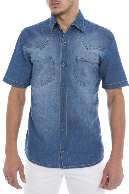 921804 Camisa Jeans Masculina (Frente)
