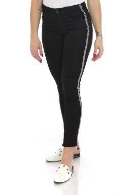 212911 Calça Jeans Skinny com Detalhe Lateral Preto (Lateral)