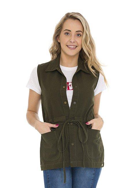 812808006 Colete Jeans com Cadarço  Verde Militar - (frente2)