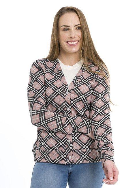 44512903 Cardigan Feminino Xadrez Rosa (frente 03)