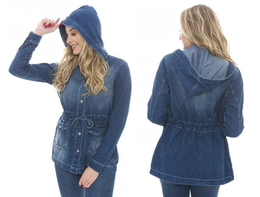 912901 Parka Jeans Feminina com Capuz (montagem)
