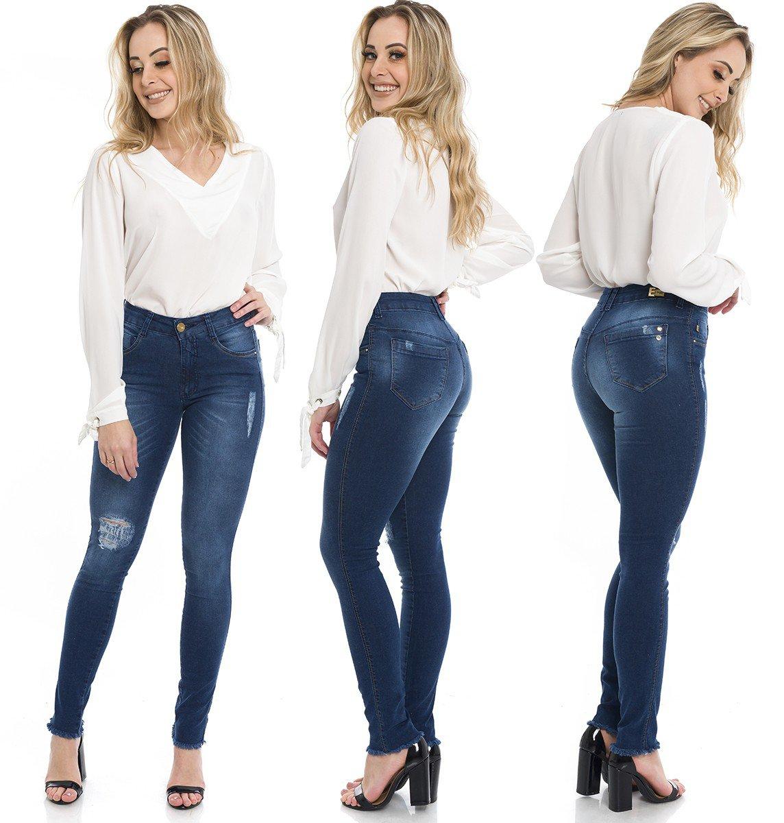 1212008 Calça Jeans Feminina Skinny Escura Barra Desfiada (Completa)