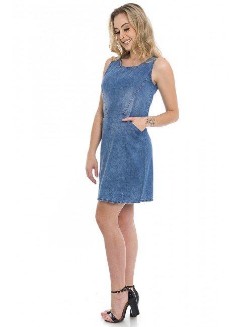 1712014 Vestido Jeans com Bolso Frontal (Lateral)