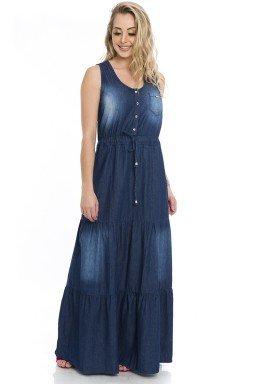 711829  Vestido Jeans Longo Jabor (Frente)