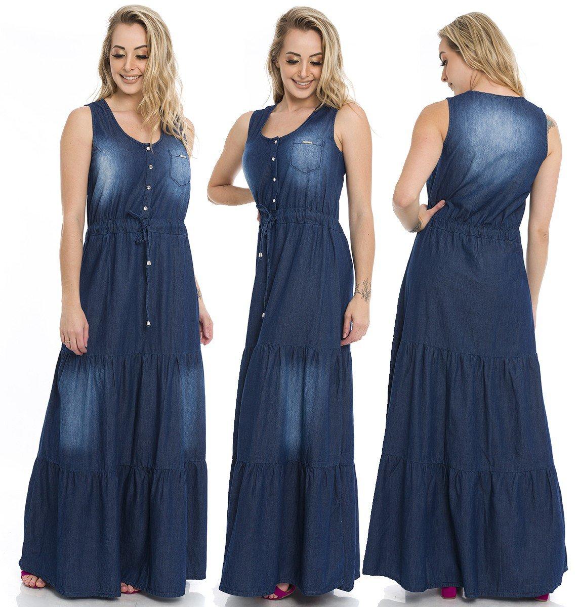 711829  Vestido Jeans Longo Jabor (Completa)