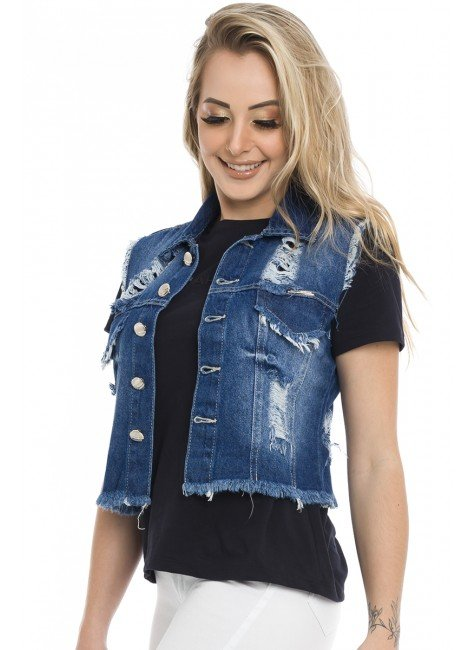 812805  Colete Jeans Curto Destroyed (Frente1)