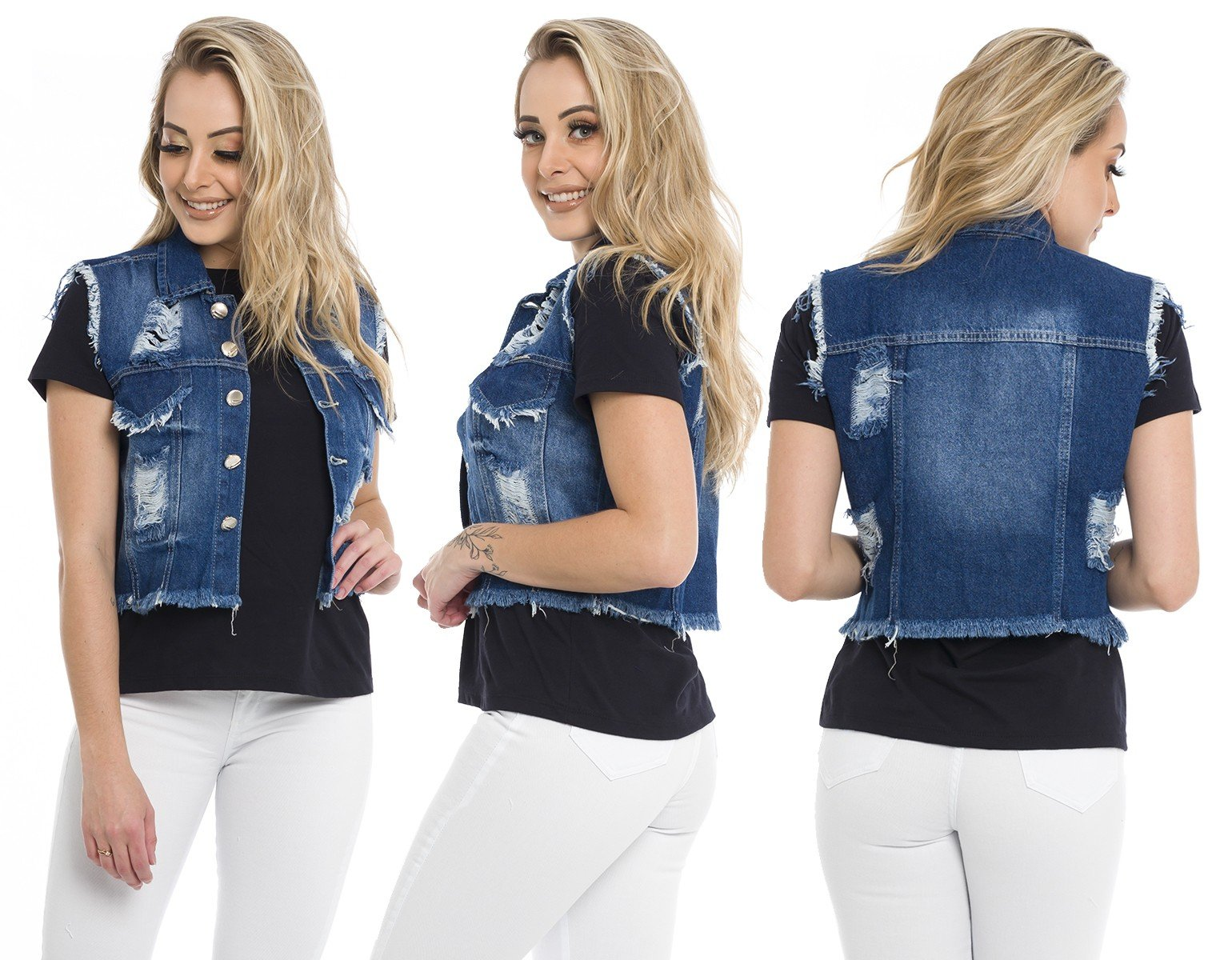 812805  Colete Jeans Curto Destroyed (Completa)