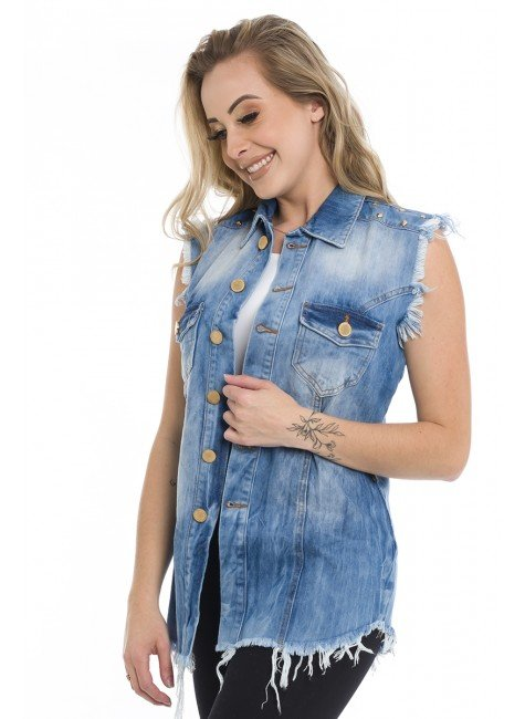 812810  Colete Jeans Oversized Spikes (Frente1)