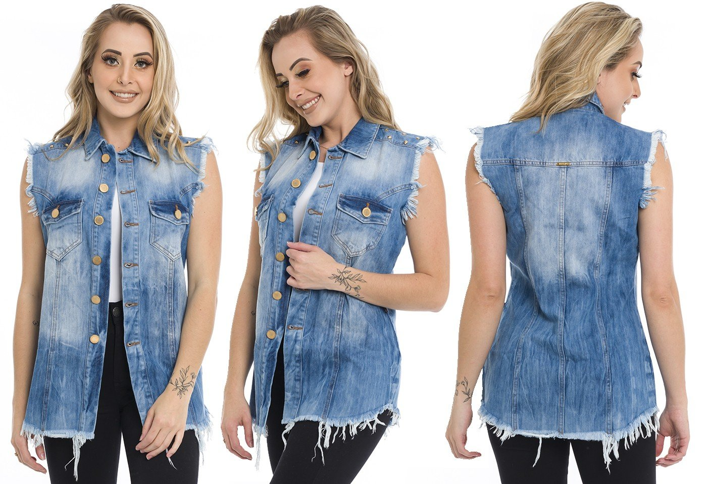 812810  Colete Jeans Oversized Spikes (Completa)