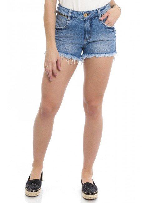 1612003  Shorts Jeans Feminino Detalhe Zíper (Frente)
