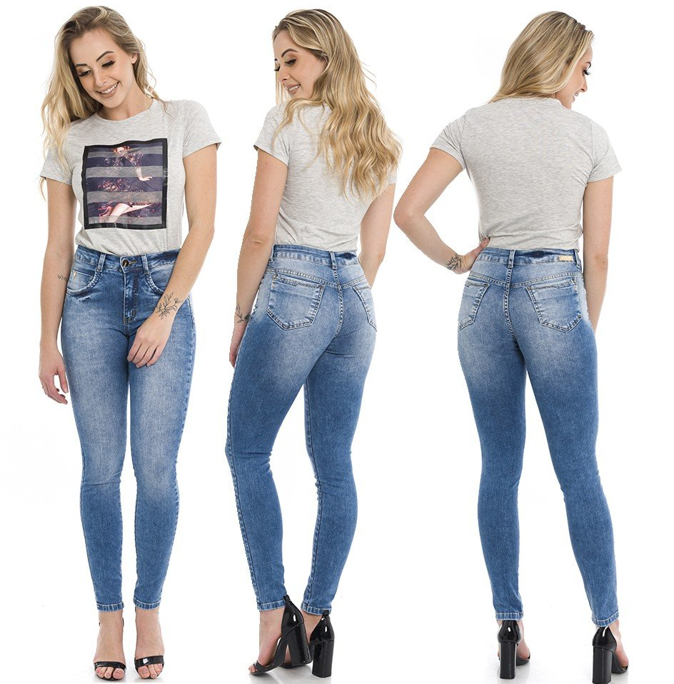 1212018  Calça Jeans Skinny Feminina Estonada Street (Completa)
