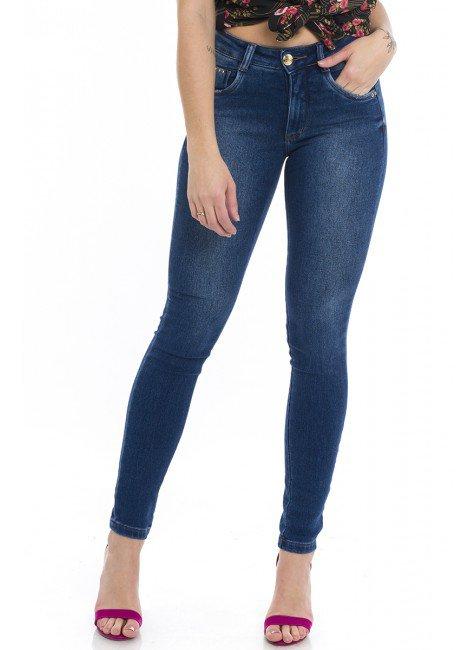 1212021  Calça Jeans Skinny Feminina Bolso Embutido (Frente)