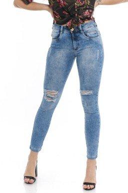 1212005  Calça Jeans Skinny Feminina Clara Rasgada New York (Frente2)