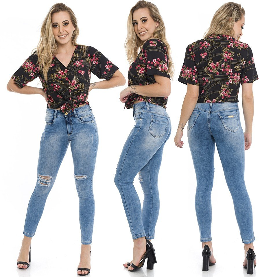 1212005  Calça Jeans Skinny Feminina Clara Rasgada New York (Completa)