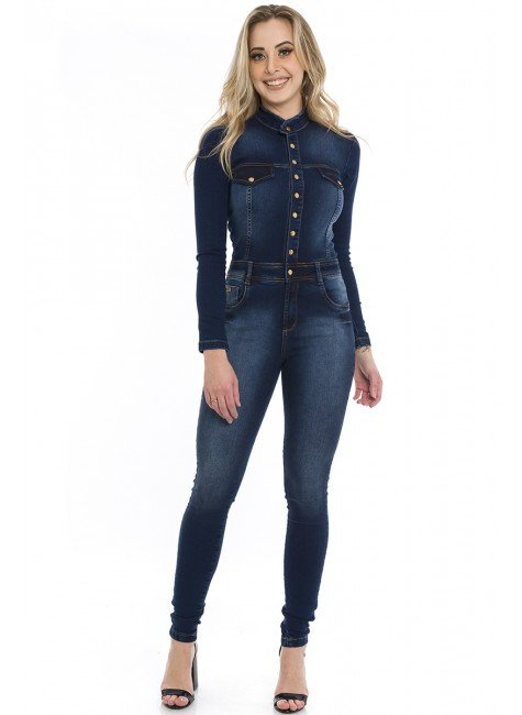 712700  Macacão Jeans Skinny Feminino (Frente)