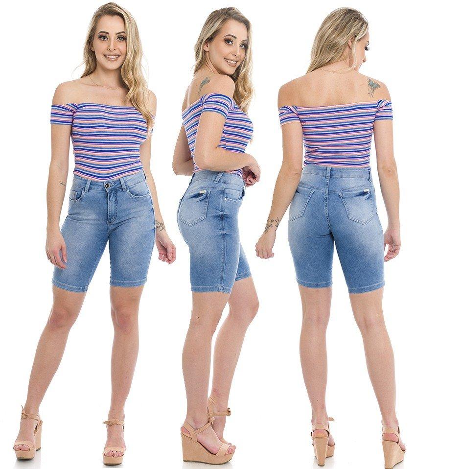 412001 Bermuda Ciclista Jeans Feminina (Completa)