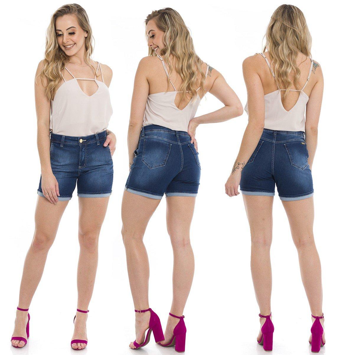 1512002 Bermuda Meia Coxa Jeans Barra Italiana (Completa)