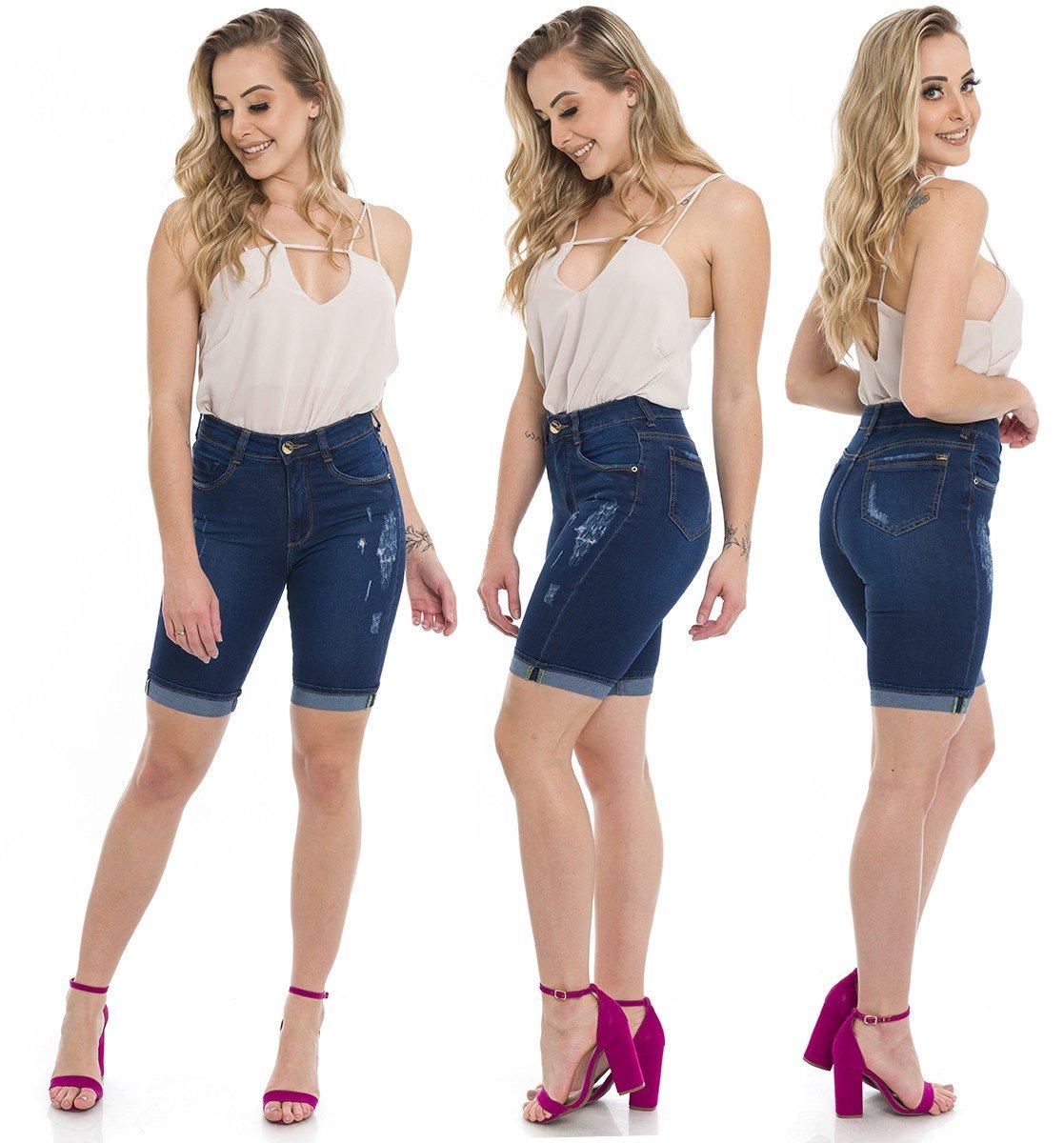 1412002 Ciclista Jeans Com Puídos e Barra Italiana (Completa)