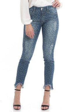 1212006 Calça Jeans Feminina Skinny Star com Barra Assimétrica (Frente)