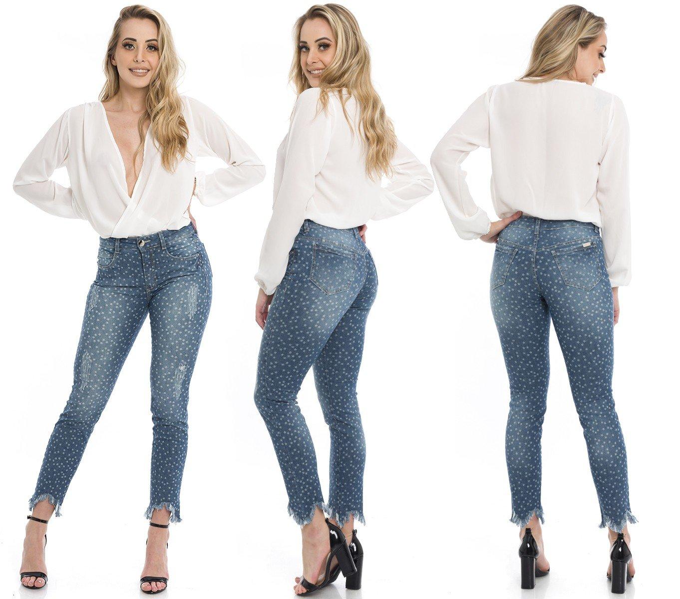 1212006 Calça Jeans Feminina Skinny Star com Barra Assimétrica (Completa)