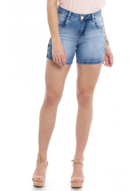 512003  Bermuda Jeans Feminina Meia Coxa (Frente)