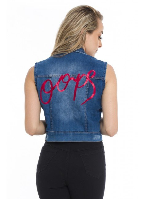 811903 Colete Jeans Curto Oops (Costas)