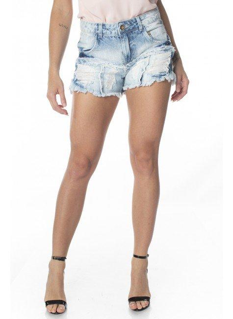 611806  Shorts Jeans Feminino Destroyed (Frente)