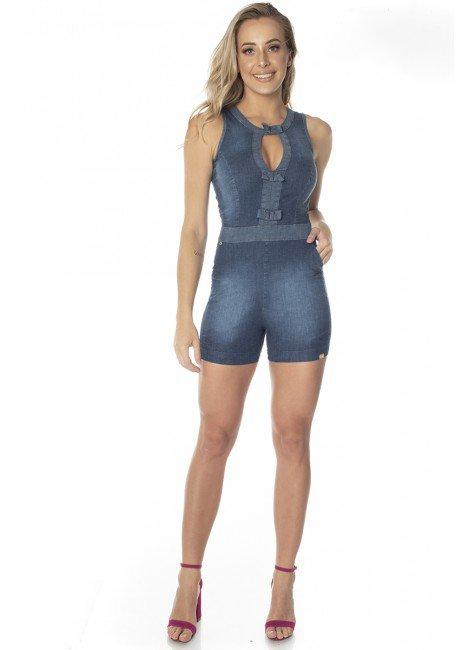 711701  Macaquinho Jeans com Laços (Frente)