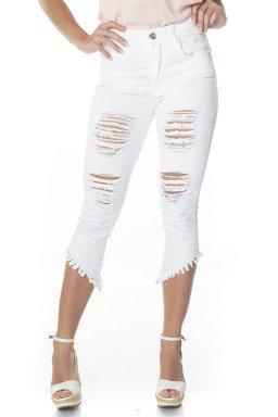 311800  Calça Capri Jeans Feminina Destroyed Branco (Frente)
