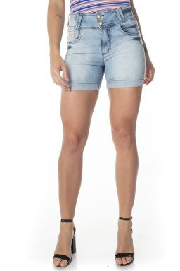 511722  Bermuda Jeans Feminina Meia Coxa Cós Largo (Frente)