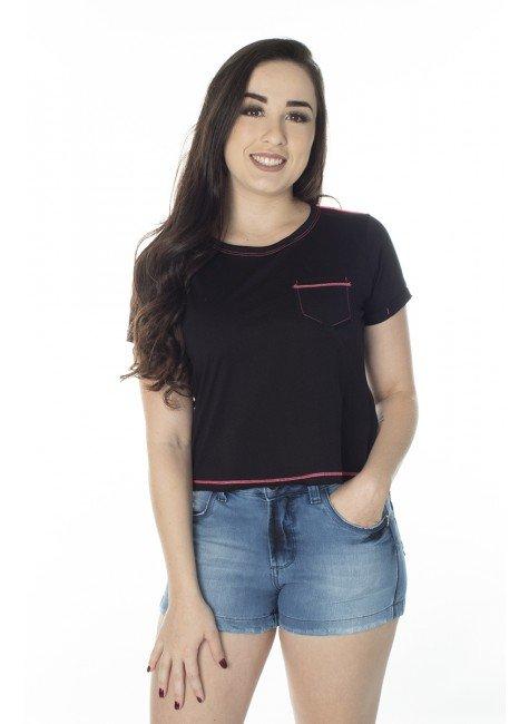 41212004482 T-Shirt Cropped Preta com Rosa Neon (Frente 1)