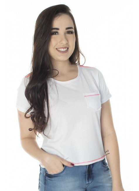 41212004483 T-Shirt Cropped Branca com Rosa Neon (Frente 2)