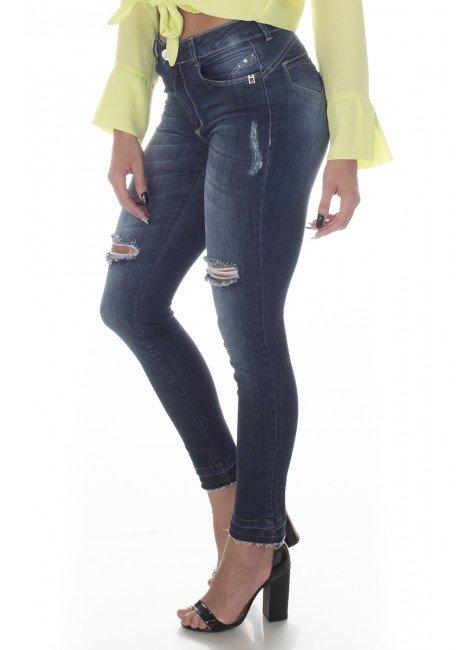 213030 Calça Jeans Skinny Feminina com Puídos (Lateral 1)