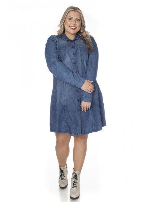 7130AR01 Vestido Chemise Jeans Plus Size (Frente 1)