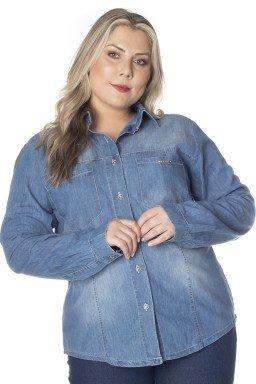 9130AR10 Camisa Jeans Feminina Plus Size (Frente)