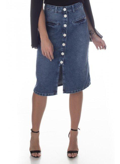 713013 Saia Jeans Midi com Botões (Frente2)
