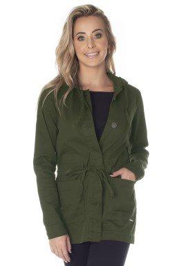 913006028 Parka Jeans Feminina com Capuz Verde Militar (Frente)