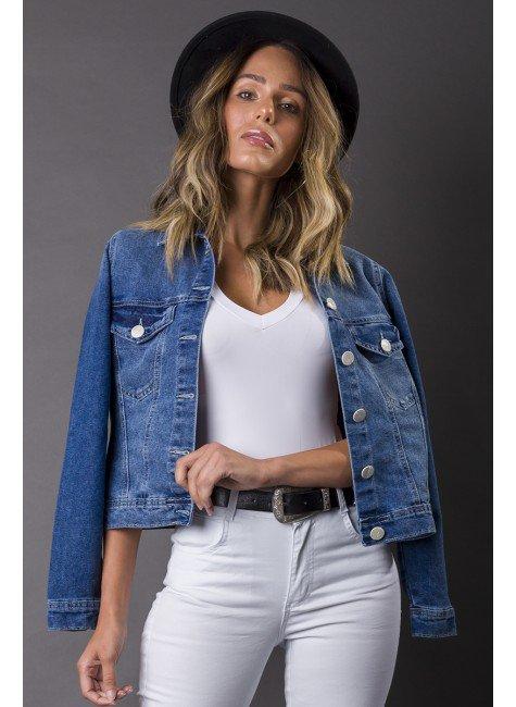 913007 Jaqueta Jeans Feminina (Frente)