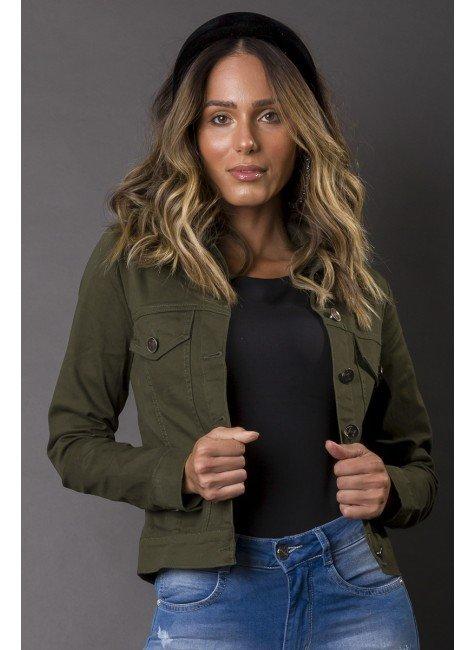 913005028 Jaqueta Jeans Feminina Verde Militar (Frente)