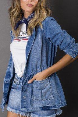913002 Parka Jeans Feminina com Capuz (Frente1)