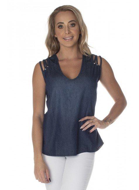 811816 Blusa Jeans Detalhe Strappy (Frente2)