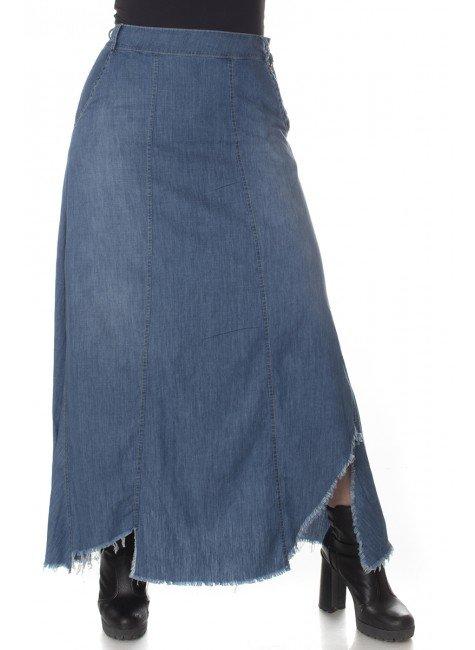 713019 Saia Longa Jeans com Barra Desfiada (Frente)