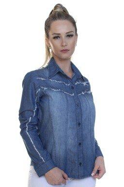 913014- Camisete Jeans Feminino com Desfiado (Frente)