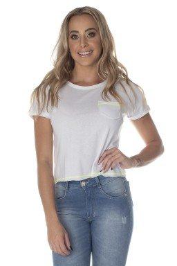 41212004002 T-Shirt Cropped Branca com Verde Neon (Frente)