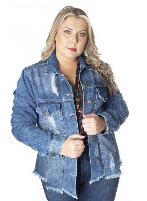 9130AR00 Jaqueta Jeans Feminina Plus Size (Frente3)