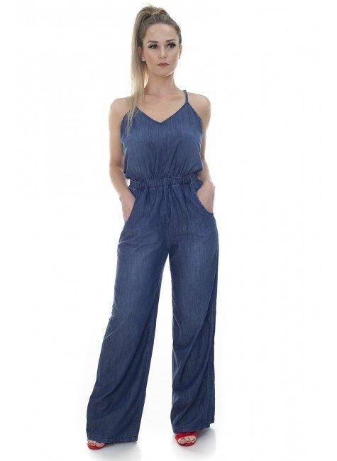 711911 Macacão Jeans Feminino (Frente)