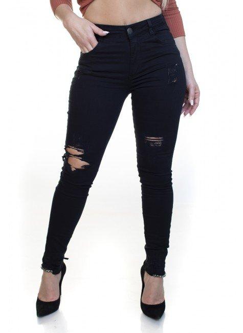 213028003 Calça Jeans Skinny Preta Rasgada (Frente 1)