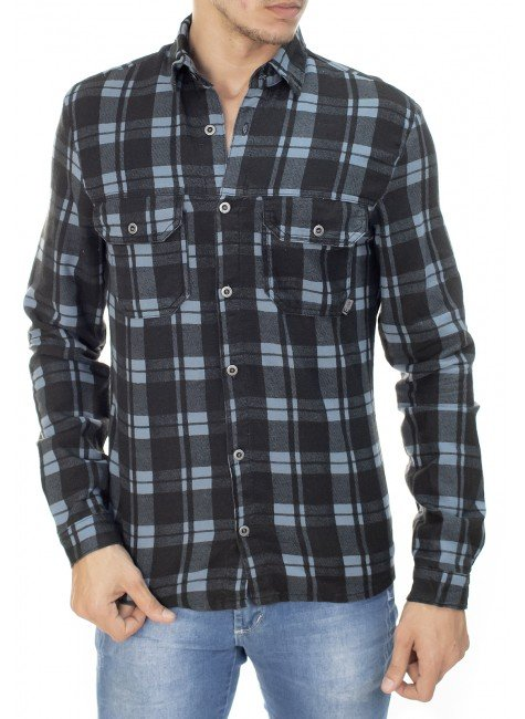 922707175 Camisa Masculina Xadrez (Frente)