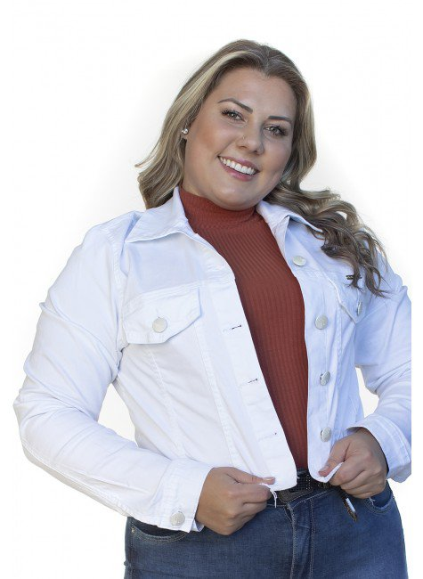 9130AR06002 Jaqueta Jeans Cropped Branca (Frente1)
